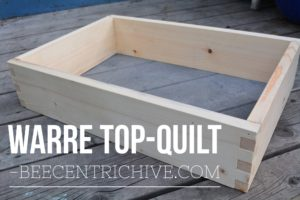 This Warre hive style top quilt box has an 1/8 inch hardware cloth bottom. Placed on top of the beecentric hive and loosely filled with bedding such as straw or wood chips. The top quilt provided a balance of ventilation and insulation for the bees. Keeps bees warm and dry.
