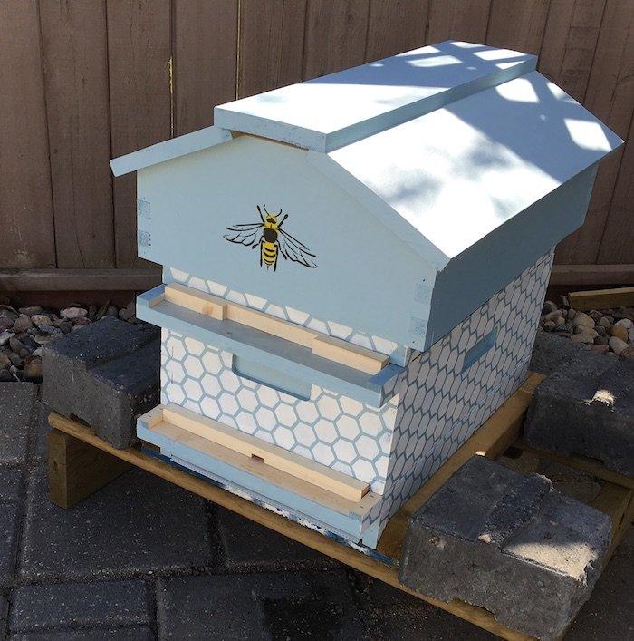 Painted Beecentric Hive in an Edmonton Backyard